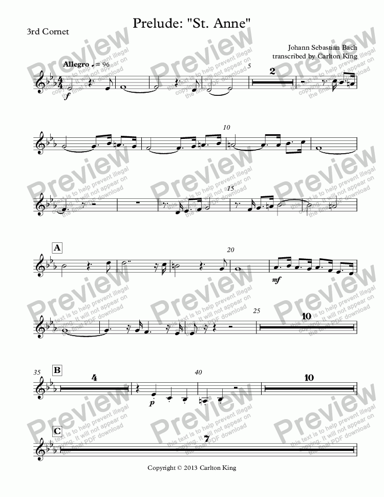 "page one of the 3rd Cornet part from Prelude: ""St. Anne"""