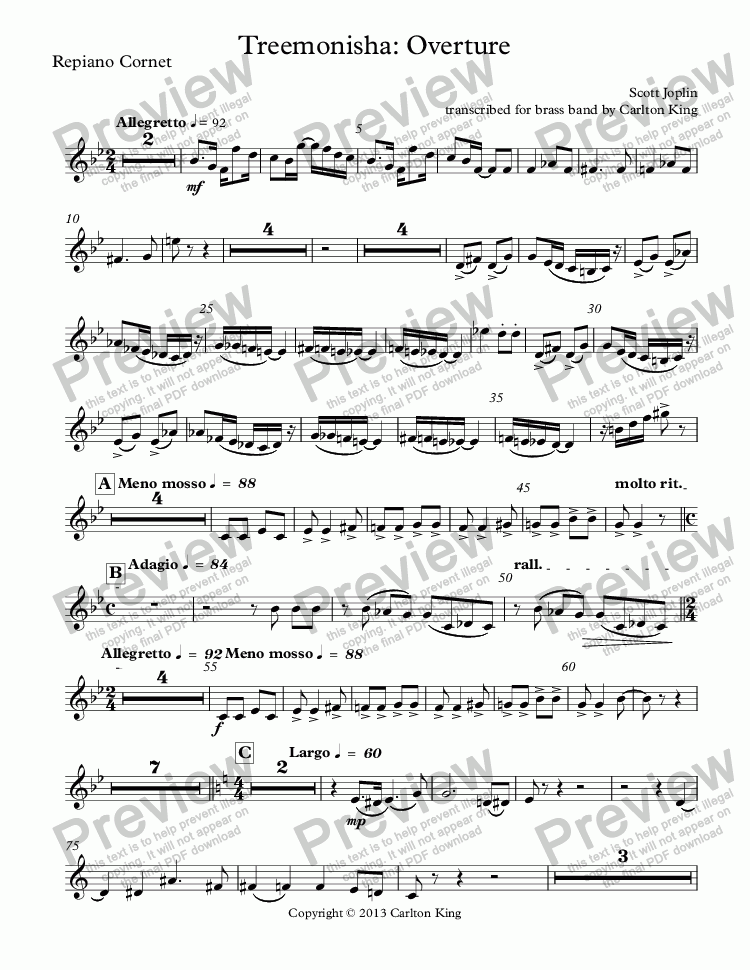 page one of the Repiano Cornet part from Treemonisha: Overture