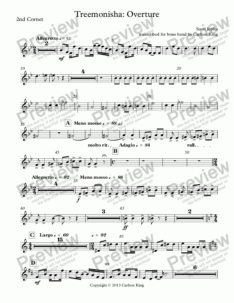 page one of the 2nd Cornet part from Treemonisha: Overture