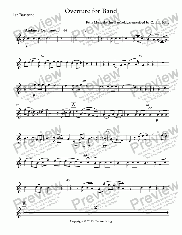 page one of the 1st Baritone part from Overture for Band