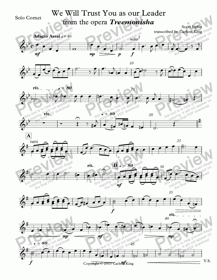 page one of the Solo Cornet part from We Will Trust You as our Leader from the opera Treemonisha