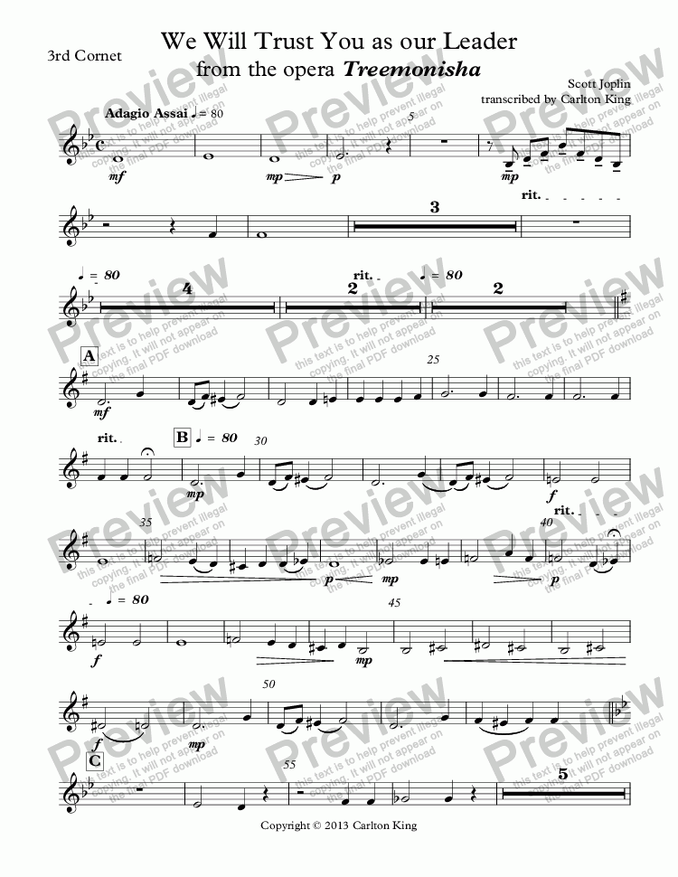 page one of the 3rd Cornet part from We Will Trust You as our Leader from the opera Treemonisha