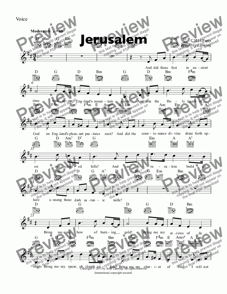 page one of the Voice part from Jerusalem (PVG)