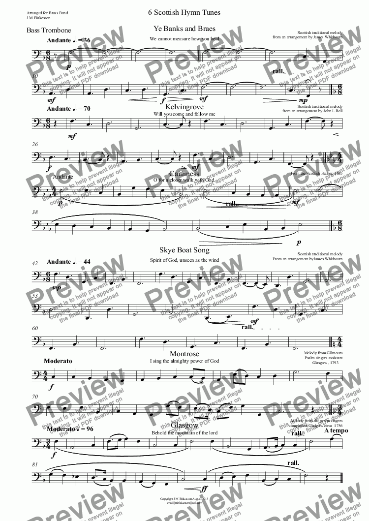 page one of the Bass Trombone part from 6 Scottish Hymn tunes