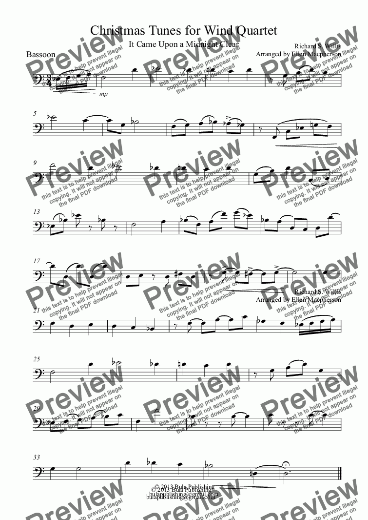page one of the Bassoon part from Christmas Tunes for Wind Quartet
