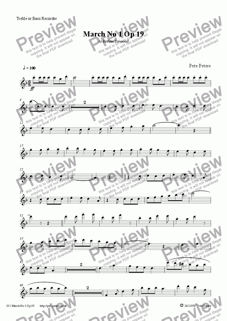 page one of the Bass or Treble recorder part from March No 1 [Bass or Treble recorder version]