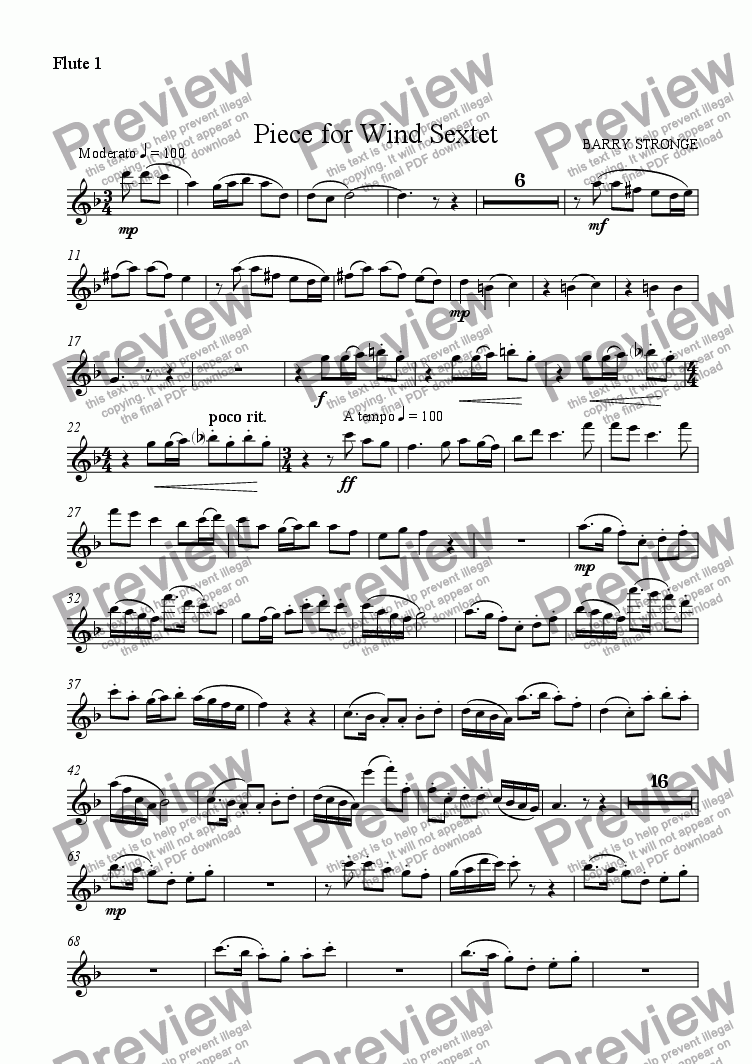 page one of the Flute 1 part from Piece for Wind Sextet