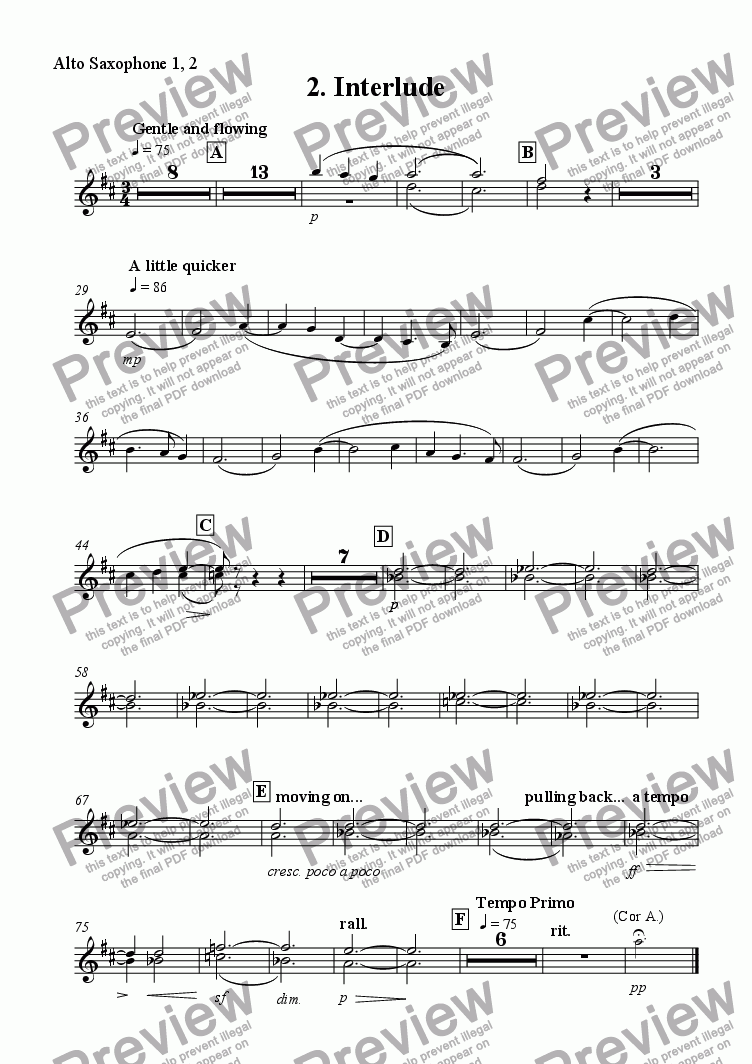 page one of the Alto Sax 1, 2 part from 'Interlude' from Scenes from the City