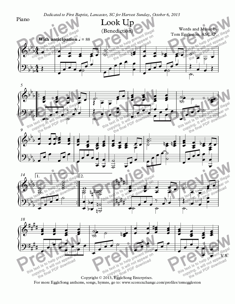 page one of the Piano part from Look Up (Benediction) with piano