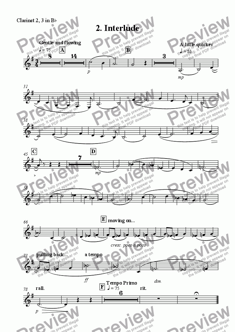 page one of the Clarinet 2, 3 in Bb part from 'Interlude' from Scenes from the City