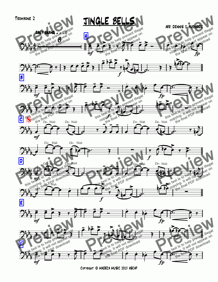 page one of the Trombone 2 part from JINGLE BELLS bigband-christmas
