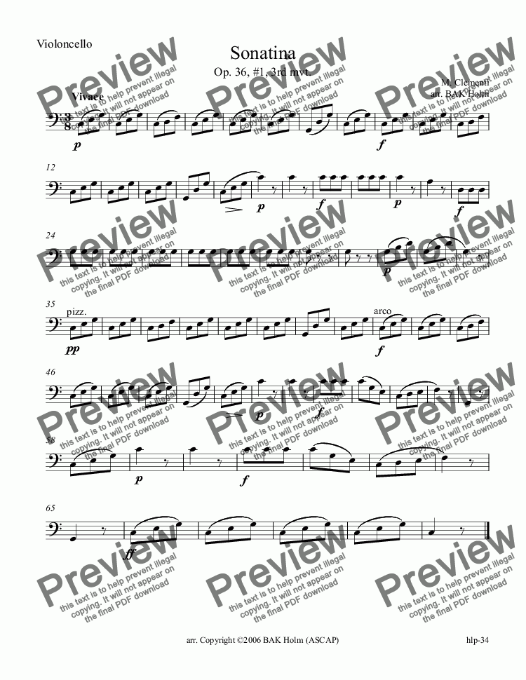 page one of the Violoncello part from Vivace-Clementi (flute, violin, cello)