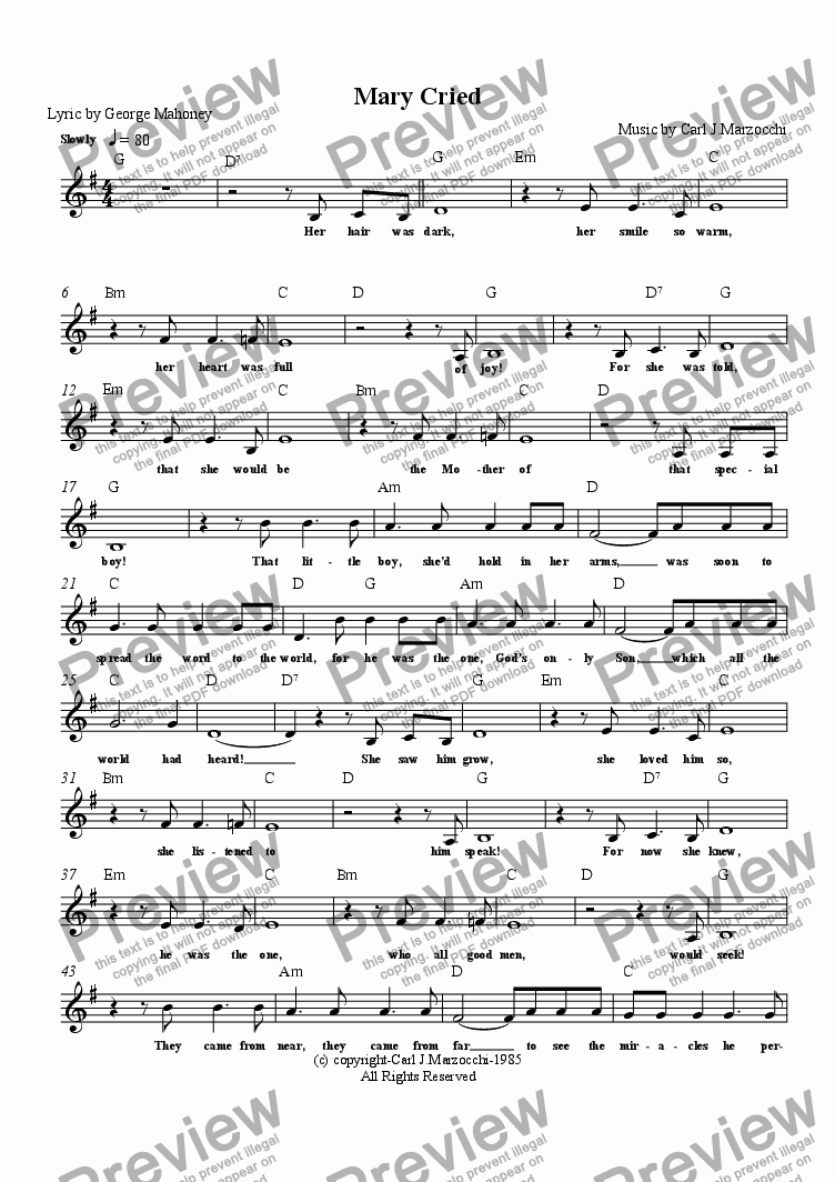 page one of the Guitar/Vocal Lead Sheet part from Mary Cried