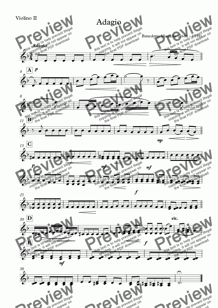 page one of the Violino II part from Adagio