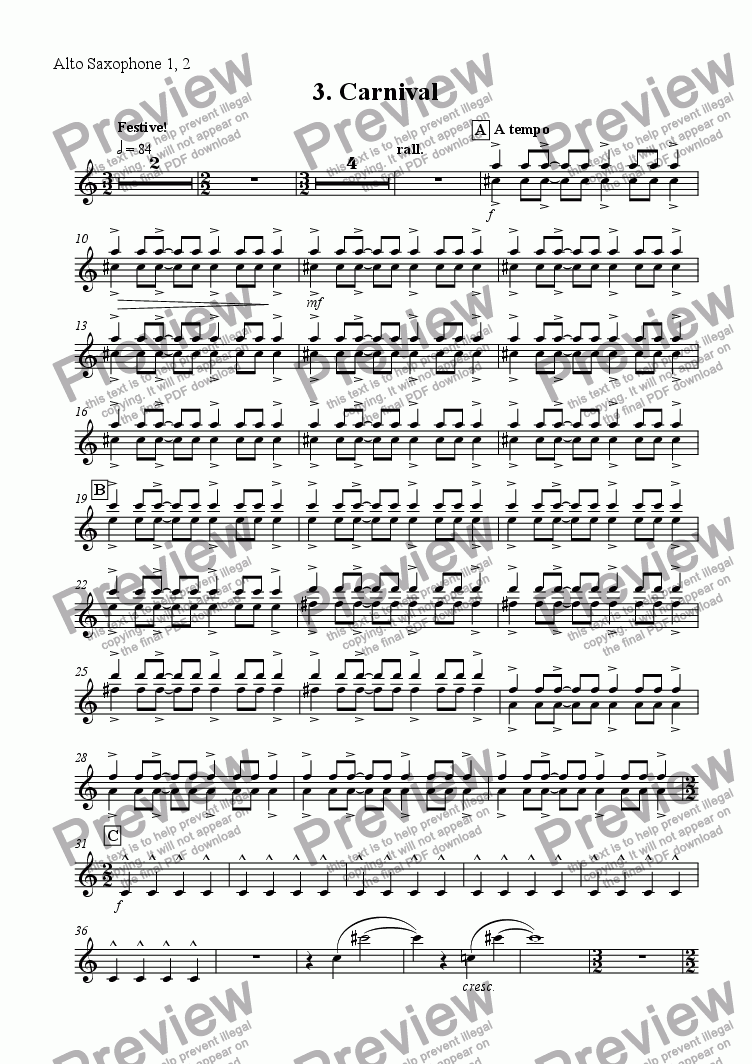 page one of the Alto Sax 1, 2 part from 'Carnival' from Scenes from the City