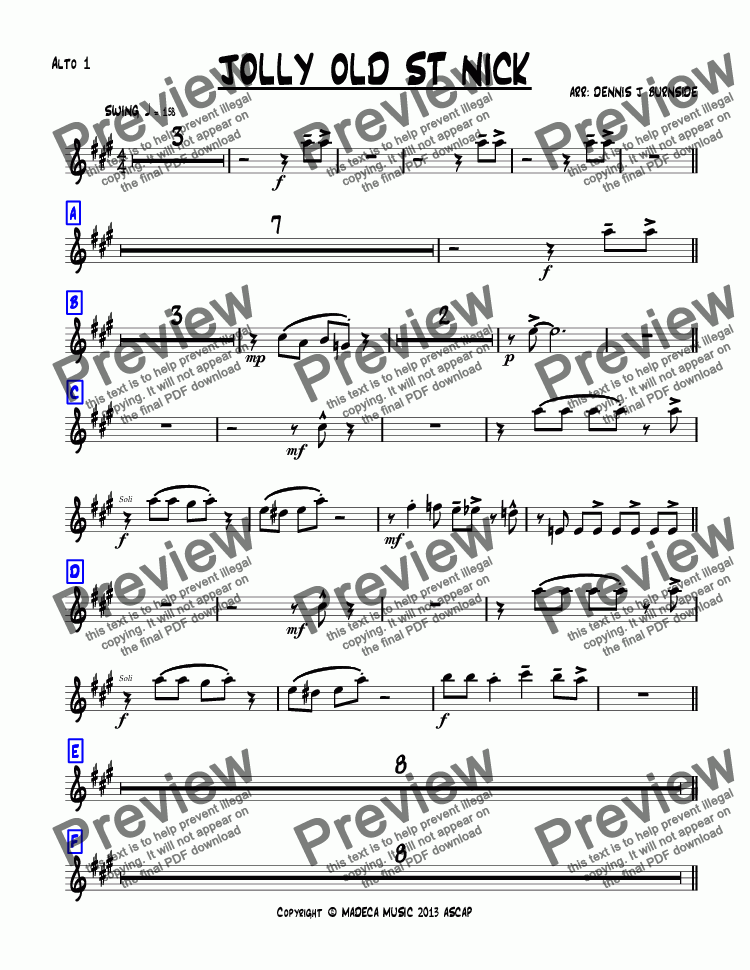 page one of the Alto 1 part from JOLLY OLD ST NICK bigband-christmas