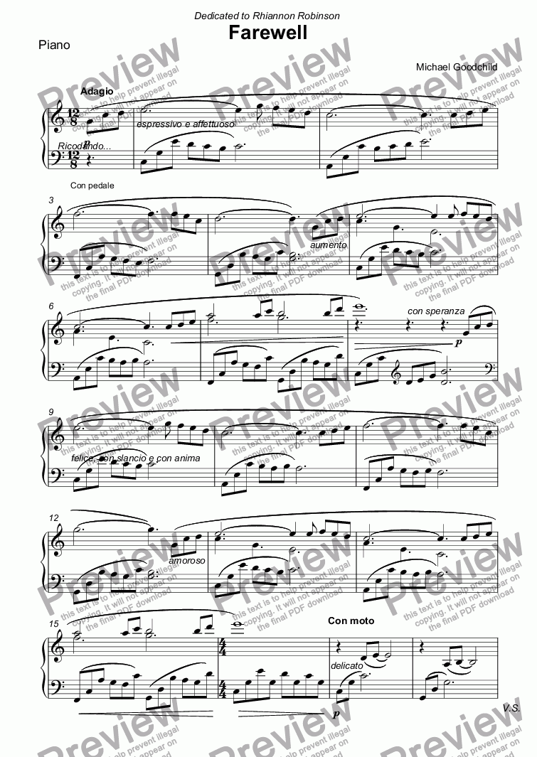 page one of the Piano part from Farewell