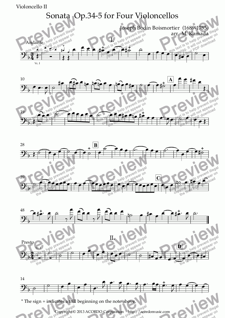 page one of the Violoncello II part from Sonata  Op.34-5 for Four Violoncellos