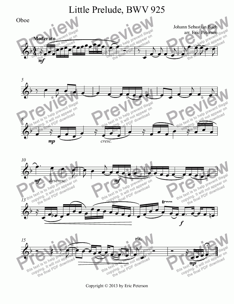 page one of the Oboe part from Little Prelude, BWV 925