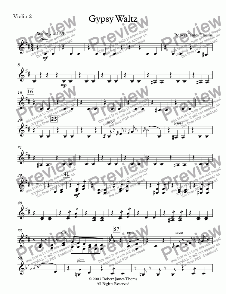 page one of the Violin 2 part from  Gypsy Waltz