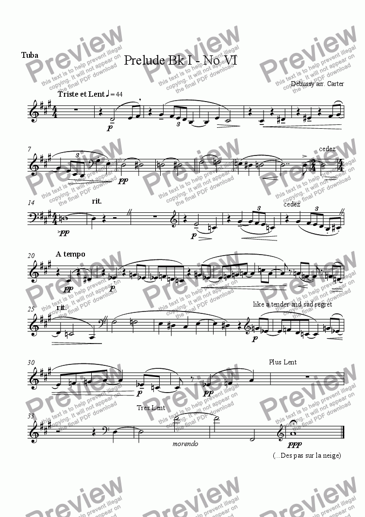 page one of the Euphonium 1 part from 4 Preludes