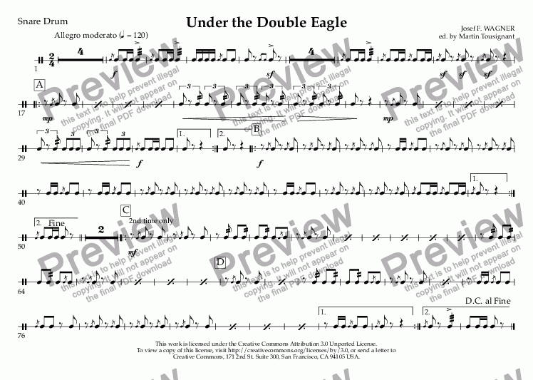page one of the Snare Drum part from Under the Double Eagle