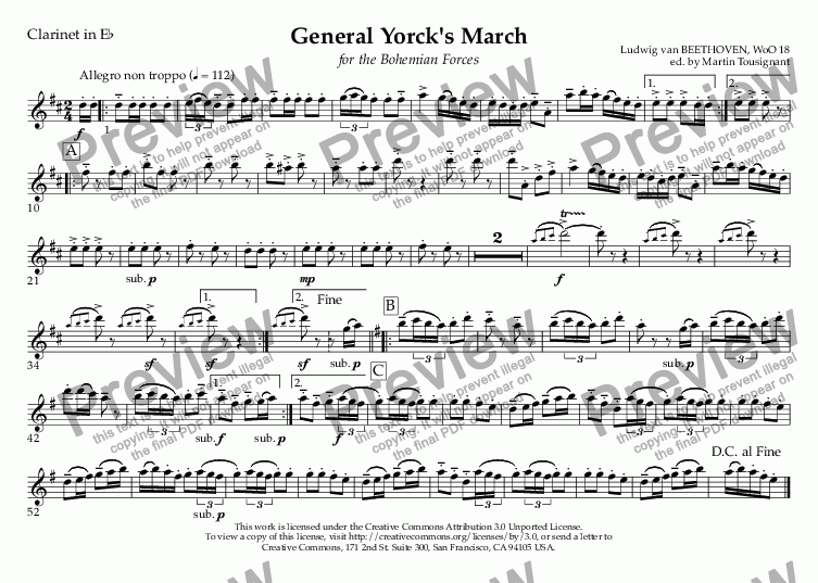 page one of the Clarinet in E^b part from General Yorck's March