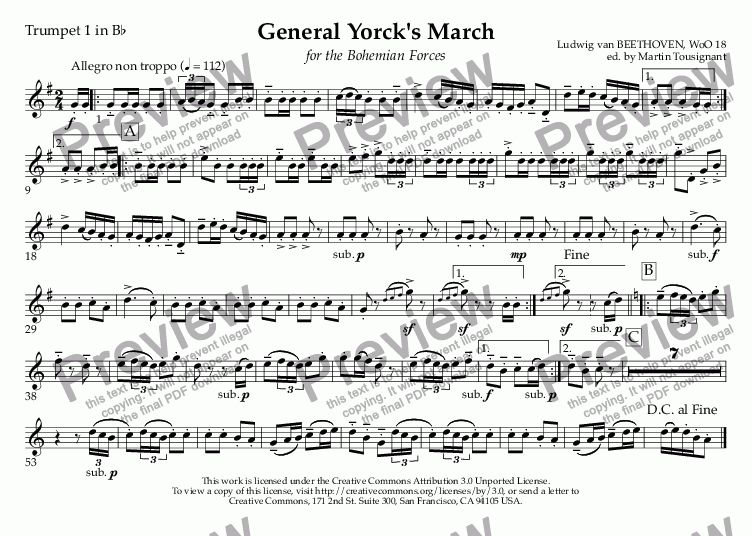 page one of the Trumpet 1 in B^b part from General Yorck's March