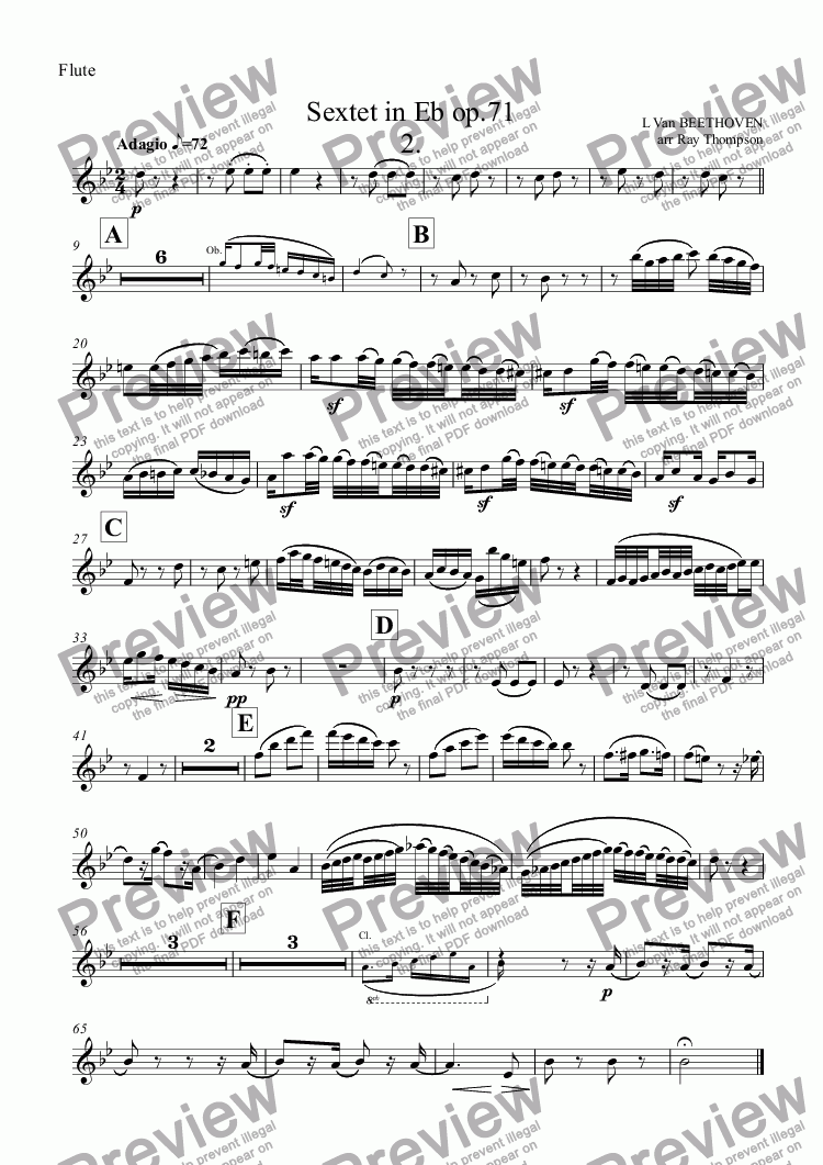 page one of the Flute part from Beethoven: Sextet in Eb op.71: 2.Adagio (arranged wind quintet)