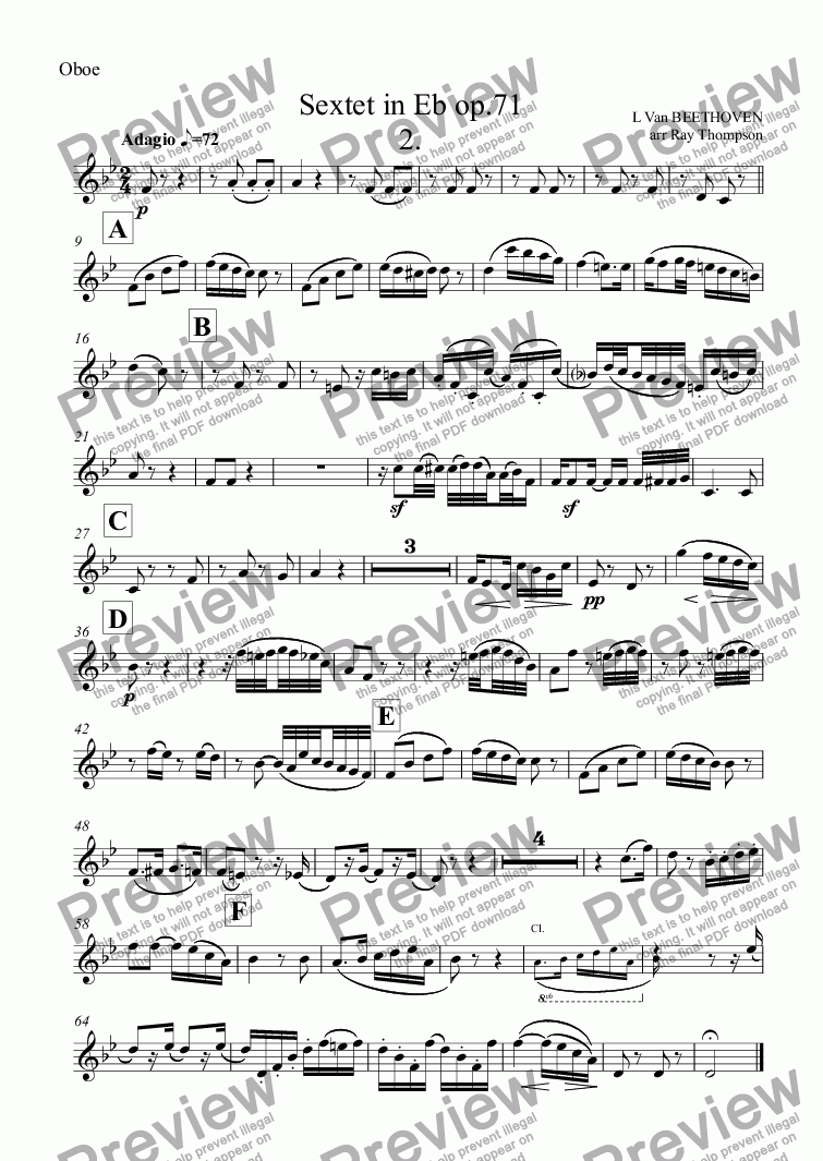 page one of the Oboe part from Beethoven: Sextet in Eb op.71: 2.Adagio (arranged wind quintet)