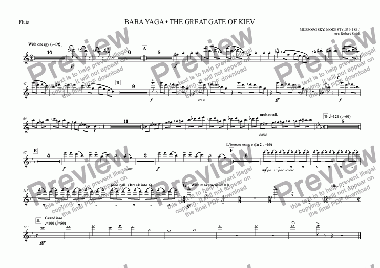 page one of the Flute part from 005 - Pictures at an Exhibition