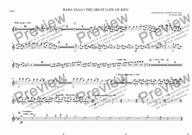 page one of the Oboe part from 005 - Pictures at an Exhibition