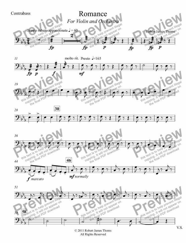page one of the Contrabass part from Romance for Violin and Orchestra