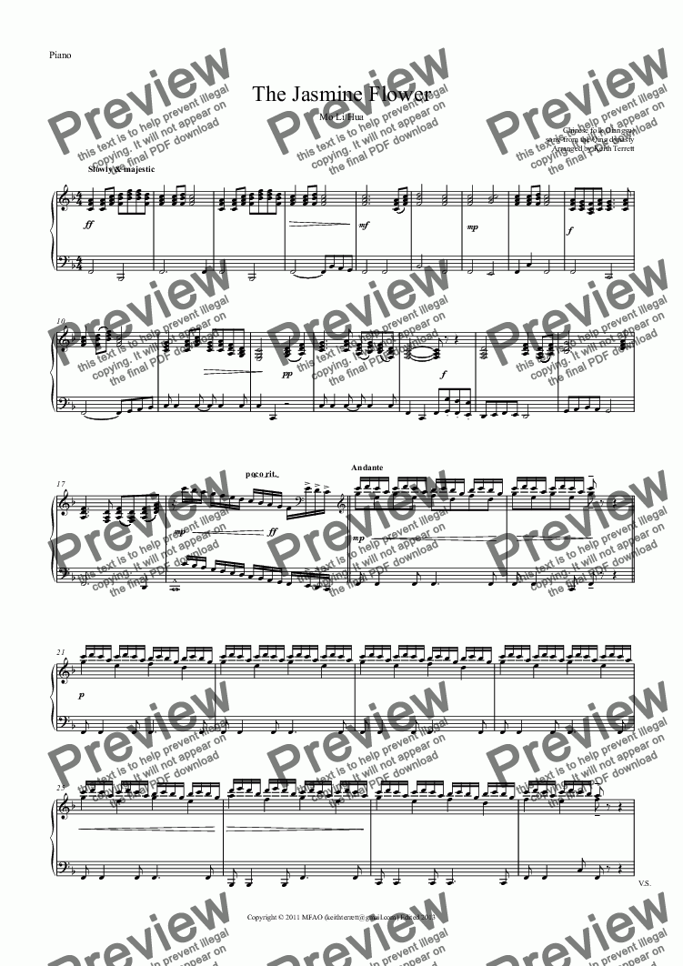 page one of the Piano part from Jasmine Flower (The) for C Tuba & Piano