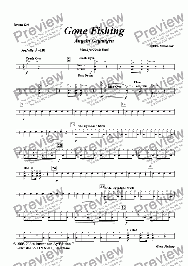 page one of the Drum Set part from Gone Fishing (youth band)