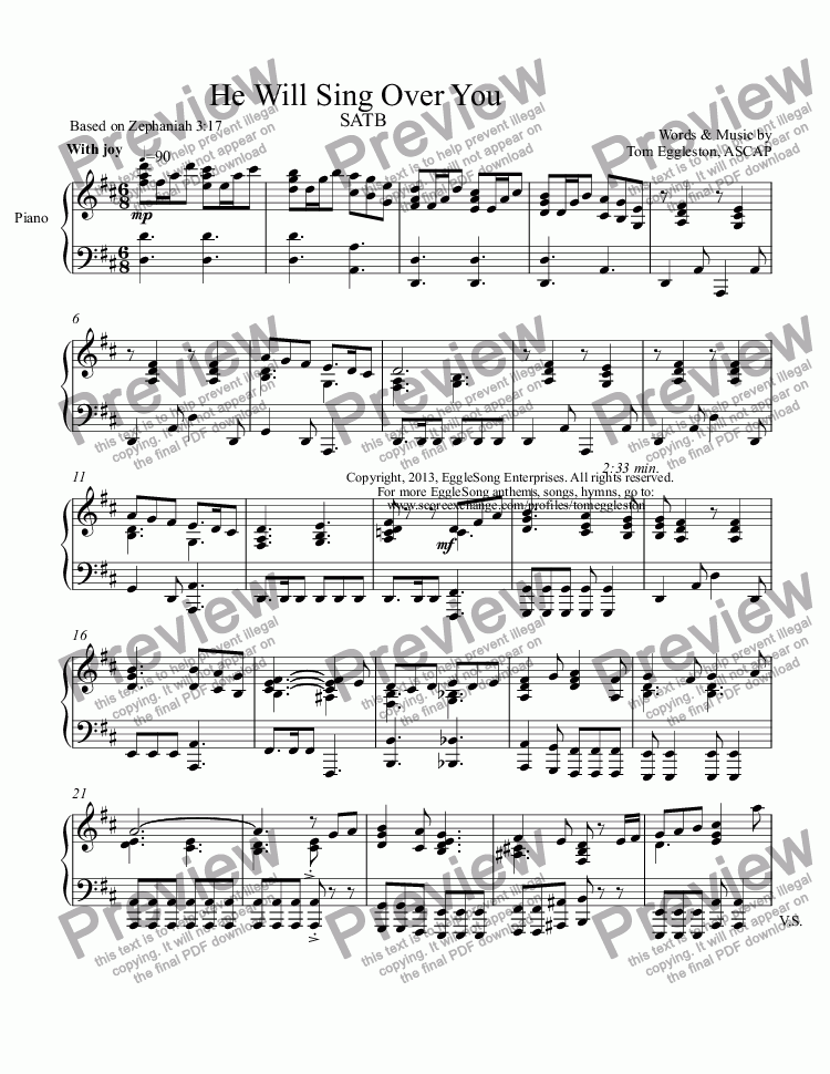 page one of the Piano part from He Will Sing Over You