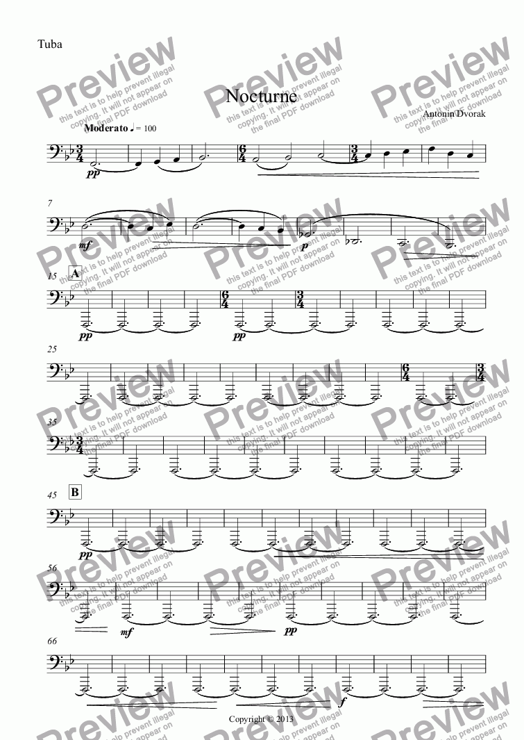 page one of the Tuba part from Nocturne (Older Middle School Band)