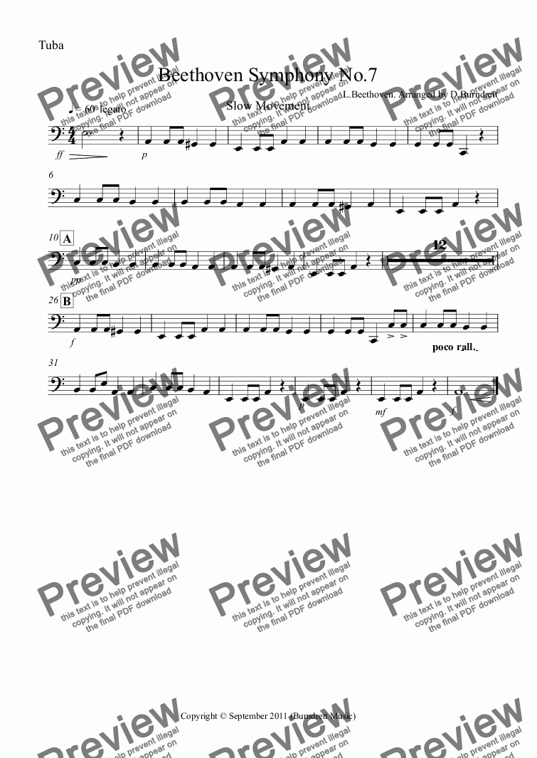 page one of the Tuba part from Beethoven Symphony No.7 (slow movement) for School Orchestra