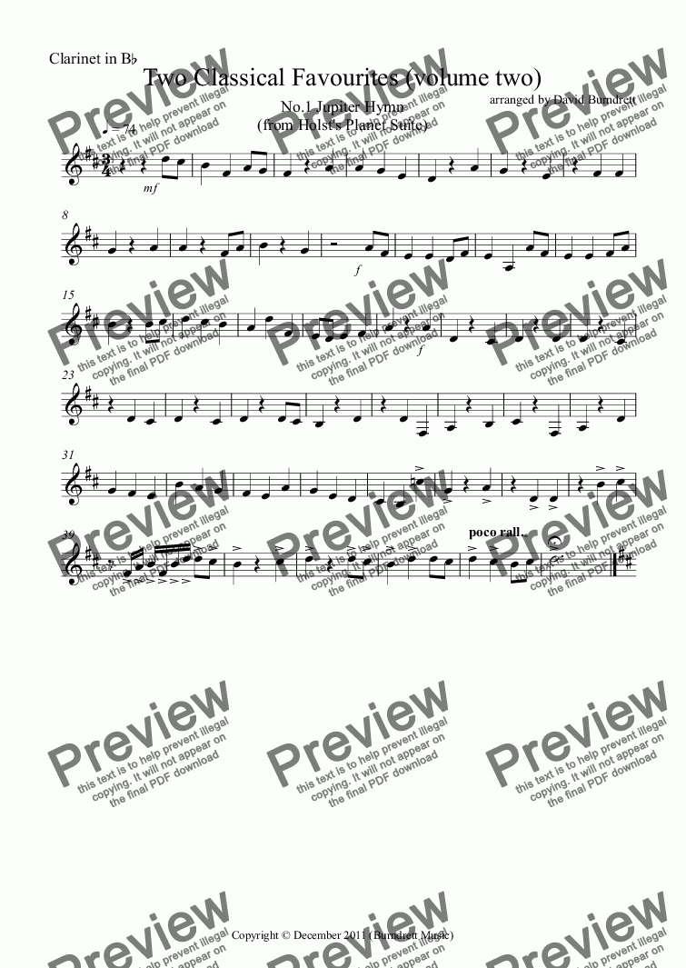 page one of the Clarinet in Bb part from 2 Classical Favourites for School Orchestra (volume two)