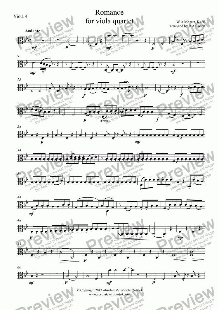 page one of the Viola 4 part from Mozart - ROMANCE - for viola quartet