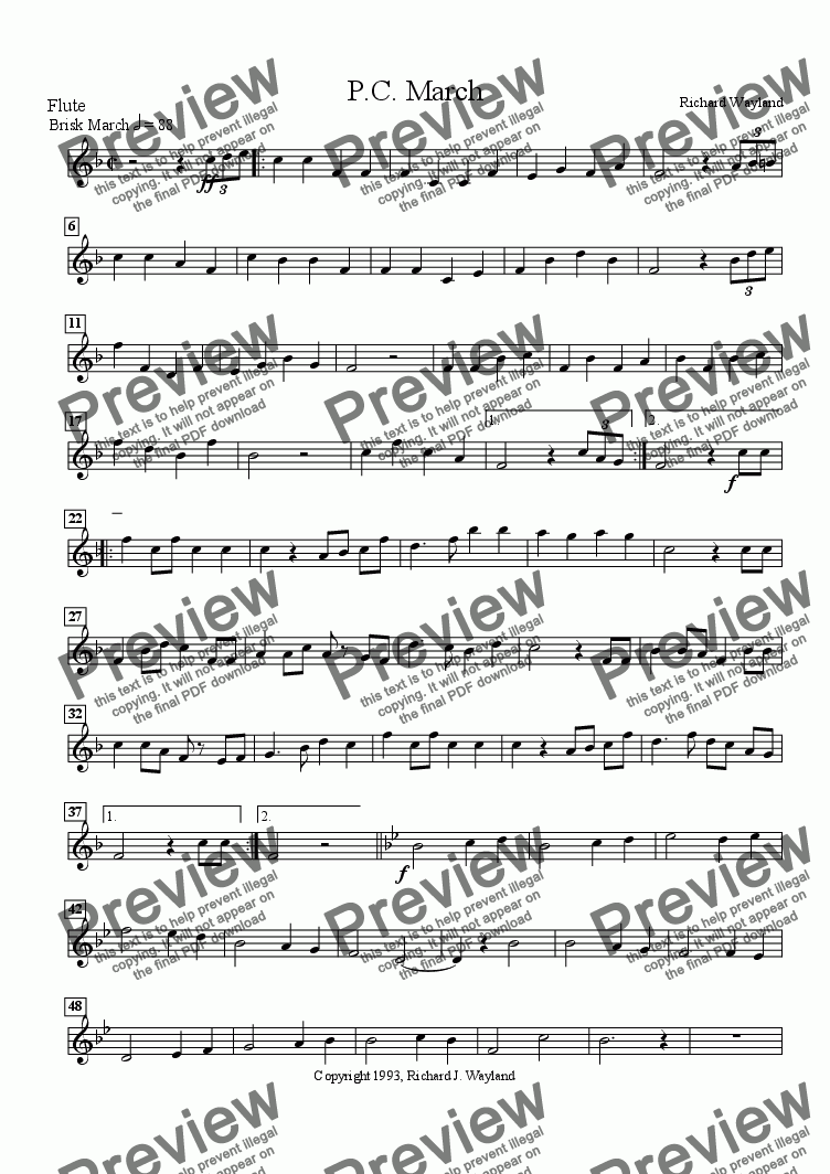page one of the Flute part from P. C. March
