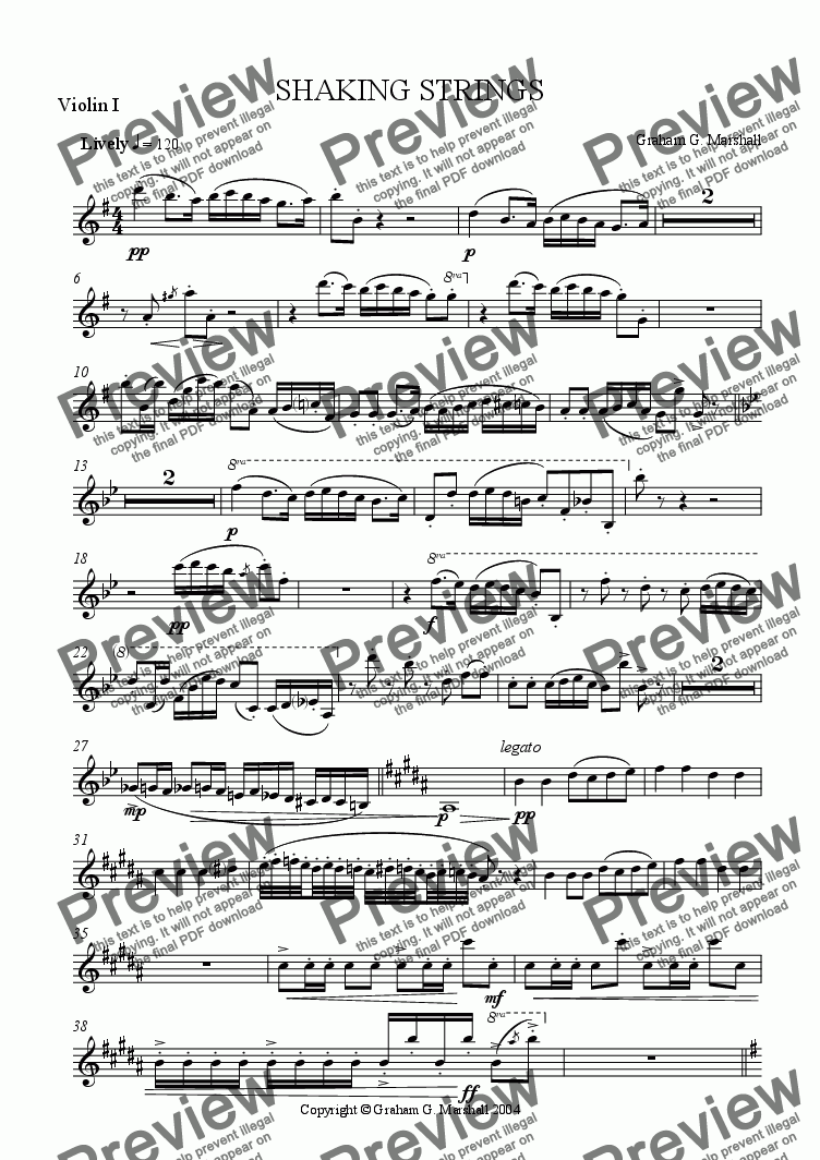 page one of the Violin 1 part from SHAKING STRINGS
