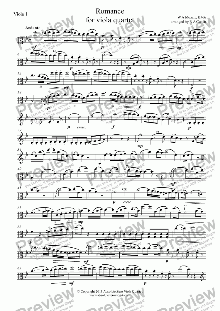 page one of the Viola 1 part from Mozart - ROMANCE - for viola quartet