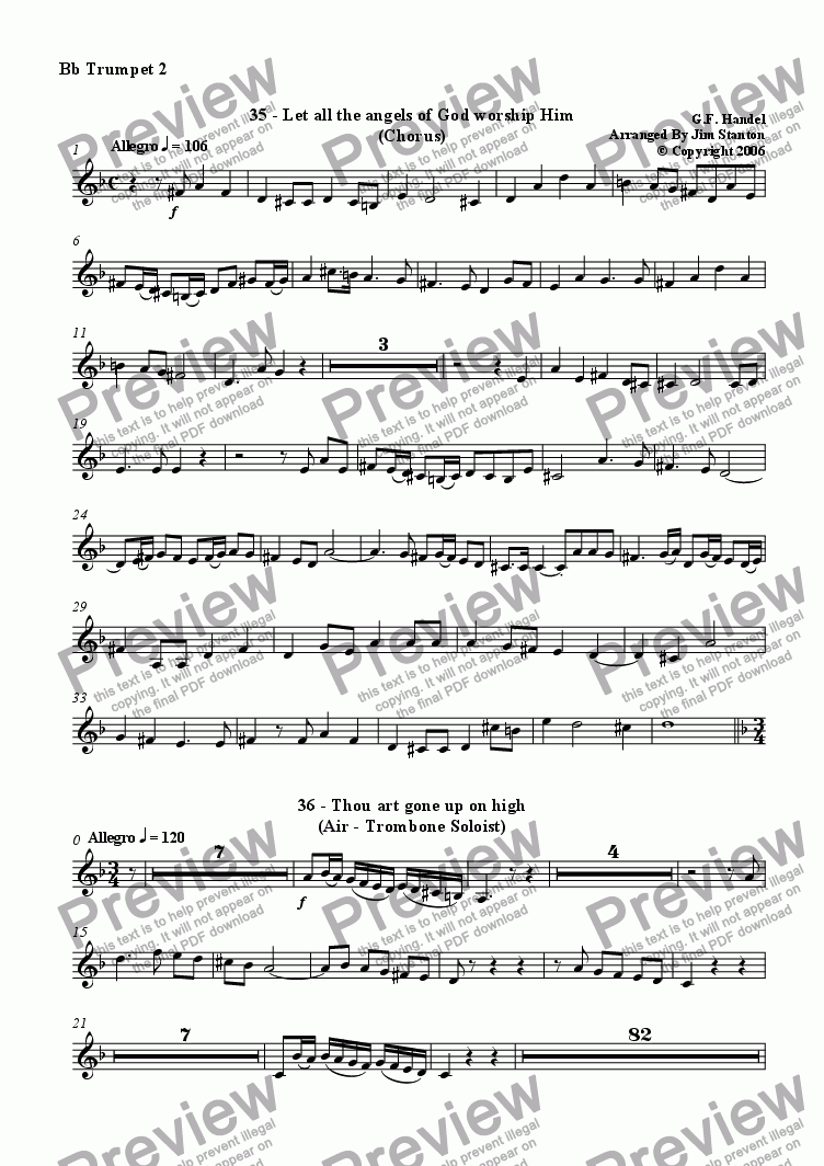 page one of the Bb Trumpet 2 part from Handel - Messiah 35-44 for Brass Quintet