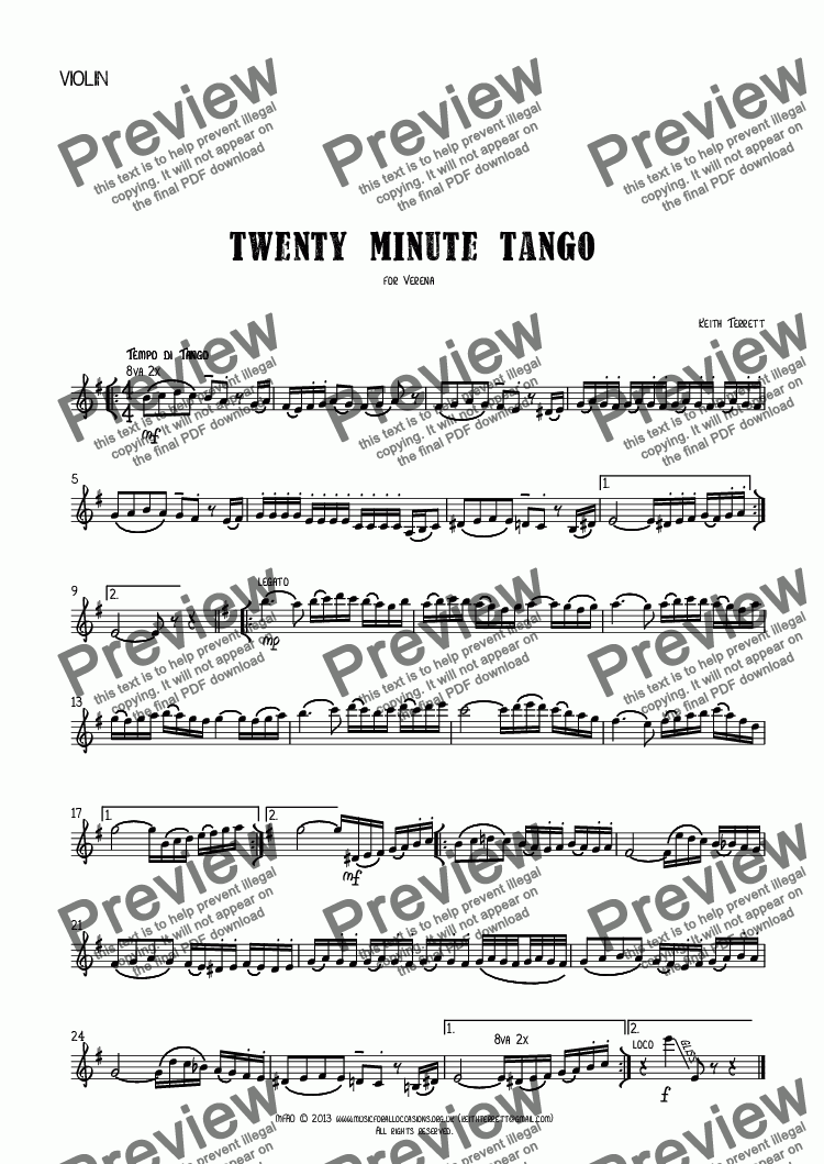 page one of the Violin part from Twenty Minute Tango for Violin & Piano