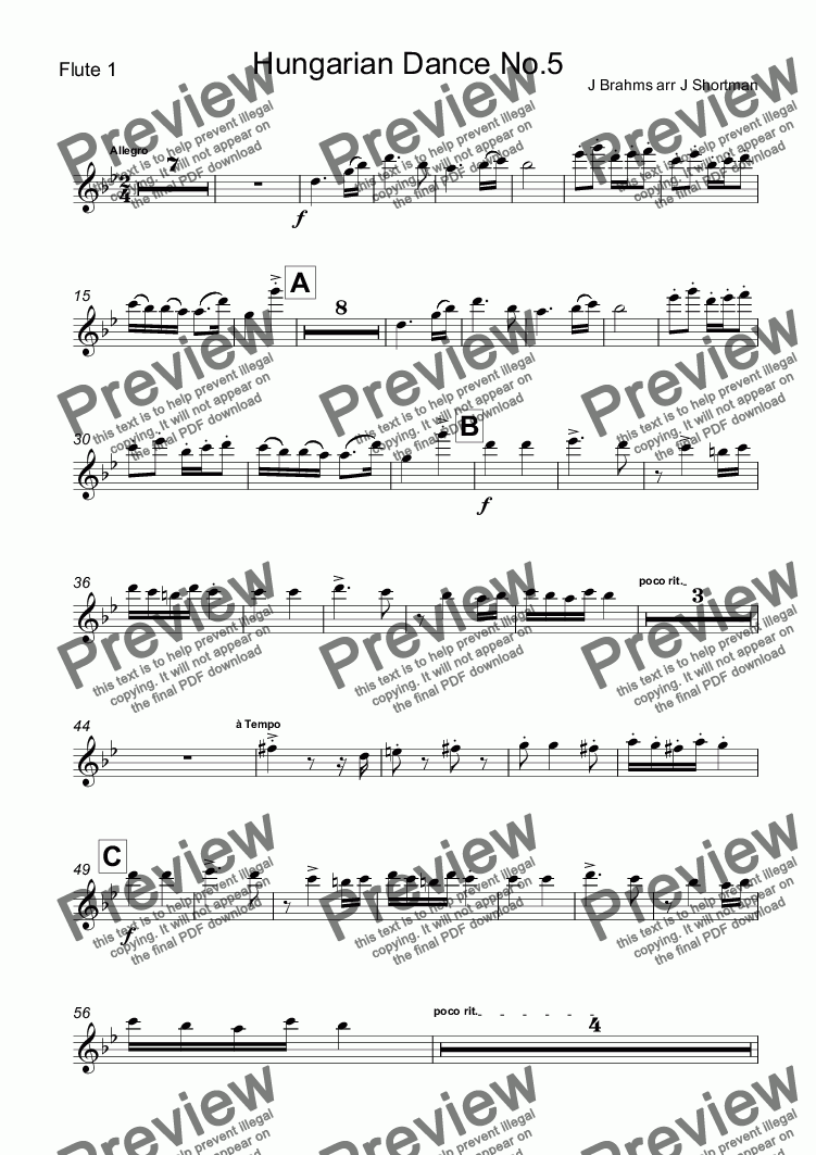 page one of the Flute 1 part from Brahms - Hungarian Dance no 5 (arranged for training orchestra)