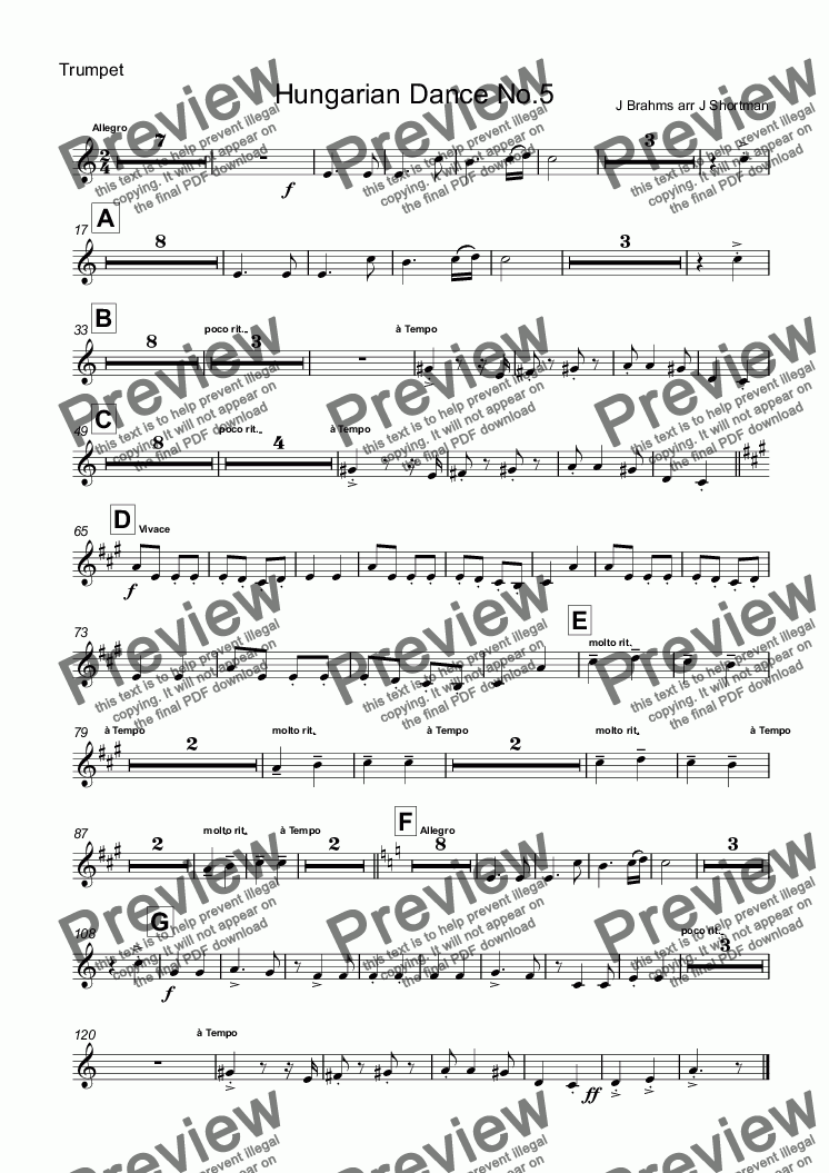 page one of the Trumpet part from Brahms - Hungarian Dance no 5 (arranged for training orchestra)