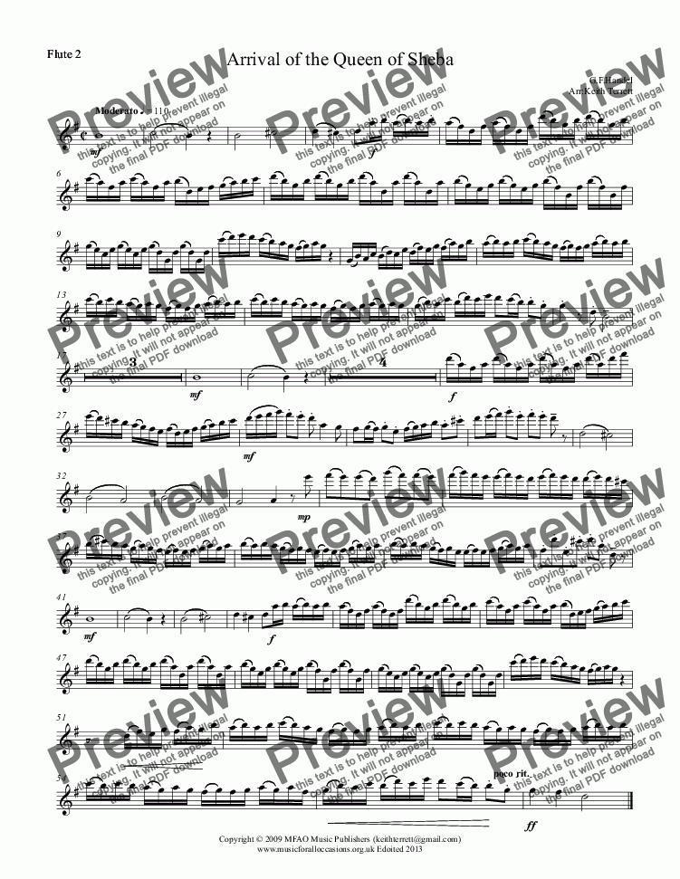 page one of the Flute 2 part from Arrival of the Queen of Sheba for Flute Choir