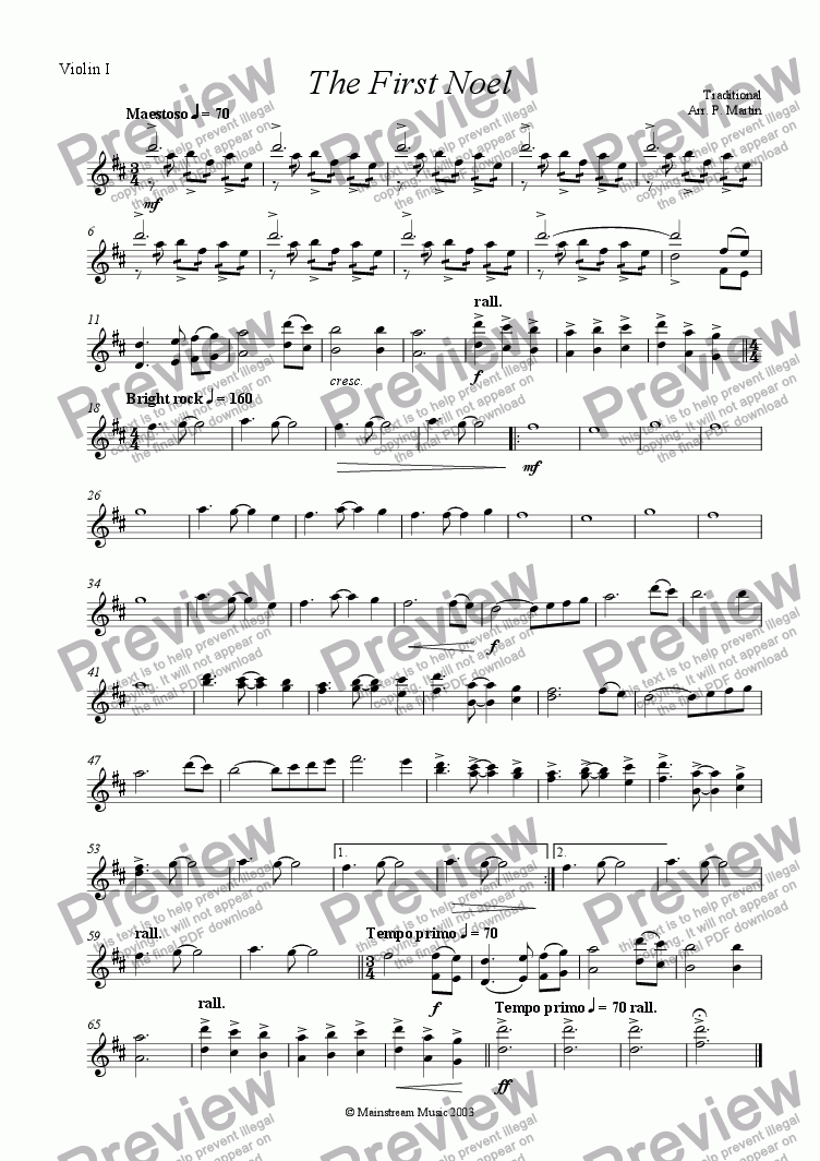 page one of the Violin I part from The First Noel