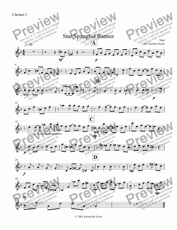 Clarinet 3 part from Star Spangled Banner - Sheet Music PDF